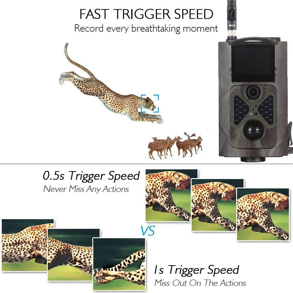 16MP Hunting Camera HC550M 0.5s trigger time 2G GPRS MMS GSM SMS 1080P 120 degrees PIR Sensor Wildlife Trail Cameras