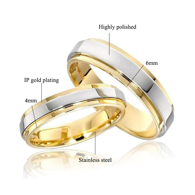Stainless steel Wedding Ring Silver Gold Color Simple Design Couple Alliance Ring 4mm 6mm Width Band Ring for Women and Men