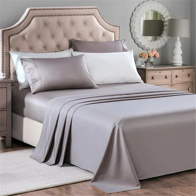 Marvelous 100% Egyptian Cotton Bedding 1000 TC Australia King Size Gray Color Flat Fitted  Sheets Pillowcases