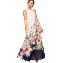 2016 verano estilo de la impresión floral vestidos maxis de las mujeres club de playa ocasional de la gasa floja sin mangas del o-cuello largo elegante dress plus size