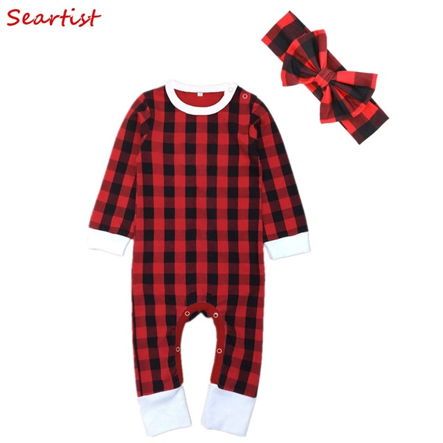 Seartist Newborn Christmas Jumpsuit Swaddle Blankets Red Plaid Headband+Hat+Rompers  Bebes Baby Boy 30a1e70a8bc