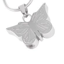 Black and Silver Butterfly Urn Necklace