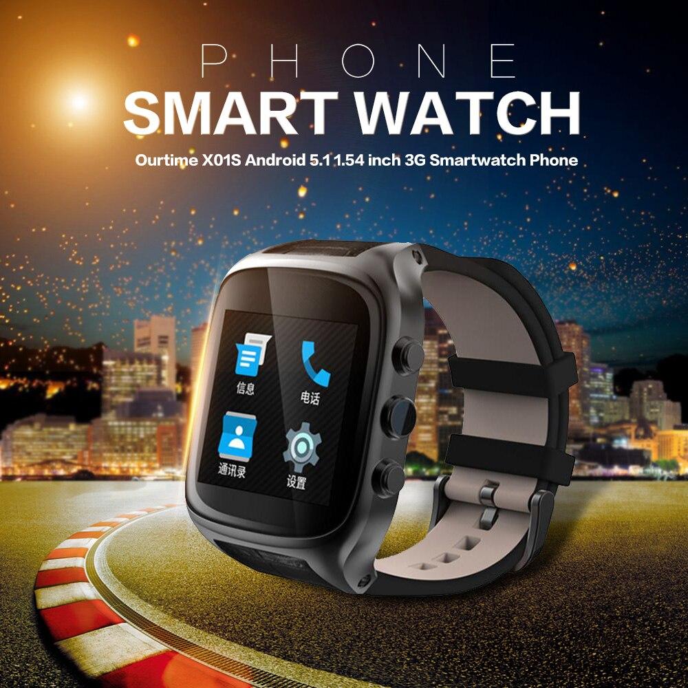imágenes para Ourtime x01s smartwatch teléfono android bluetooth smart watch ritmo cardíaco a prueba de agua de Doble Núcleo GPS Reloj Cam 1G 8G 600 mAh 3G WiFi