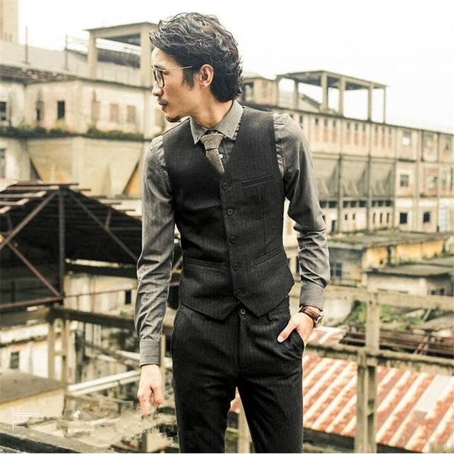 New Men's Brand Sleeveless Jacket Waistcoat Men Suit Vest Fashion British Style Slim Single Breasted Vintage Vest   A2915