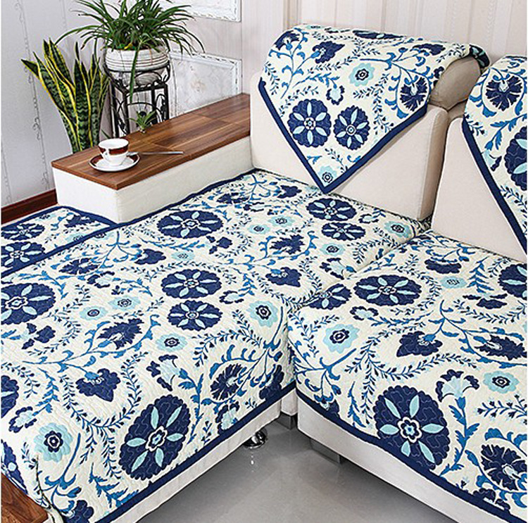 Luxury Cotton Sofa Cloth Fabric Blue And White Sectional Towel Set Covers For Home Textile Corner Cover Slipcover In From Garden