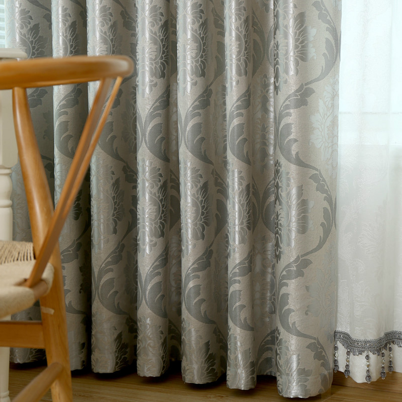 Silver Jacquard Curtains For Living Room Gray Classic European Pattern Curtain For Bedroom Suede Drapes Curtain