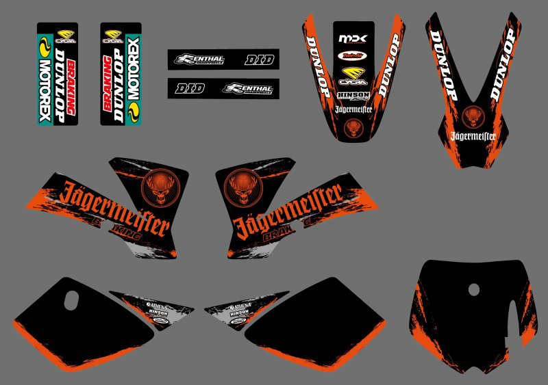 0537 (black&orange) NEW GRAPHICS <font><b>DECALS</b></font> Sticker For <font><b>KTM</b></font> 50 SX 2002 2003 2004 2005 2006 2007 <font><b>2008</b></font> image