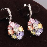 Direct Selling Multicolor Morganite Topaz 925 Sterling Silver Drop Dangle Flowers Earrings For Women S5111