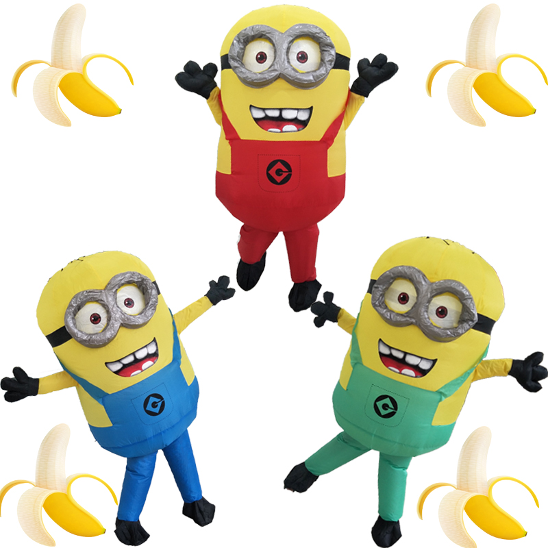 Halloween Cosplay Party Costume Vuxen Minion Uppblåsbara Despicable Minion Costume Mascot 1,5-1,85m Minion Uppblåsbara Kostym