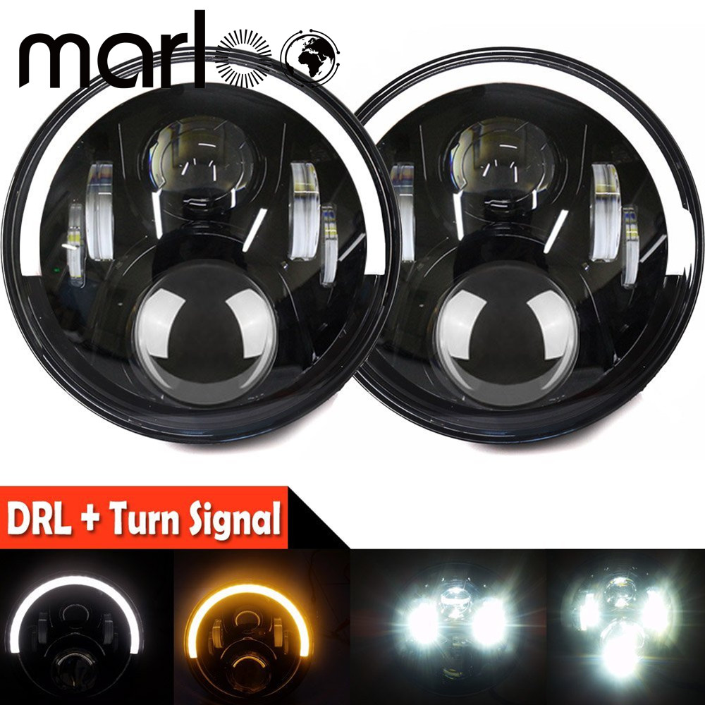 Marloo For Jeep Wrangler 120W 7 Inch Round Projector LED Headlights White Amber DRL Half Halo For Jeep Jk Tj Lj Sahara Unlimited 7 led halo headlights for jeep wrangler jk jku tj lj rubicon sahara unlimited white drl amber turn signal 4 halo fog light