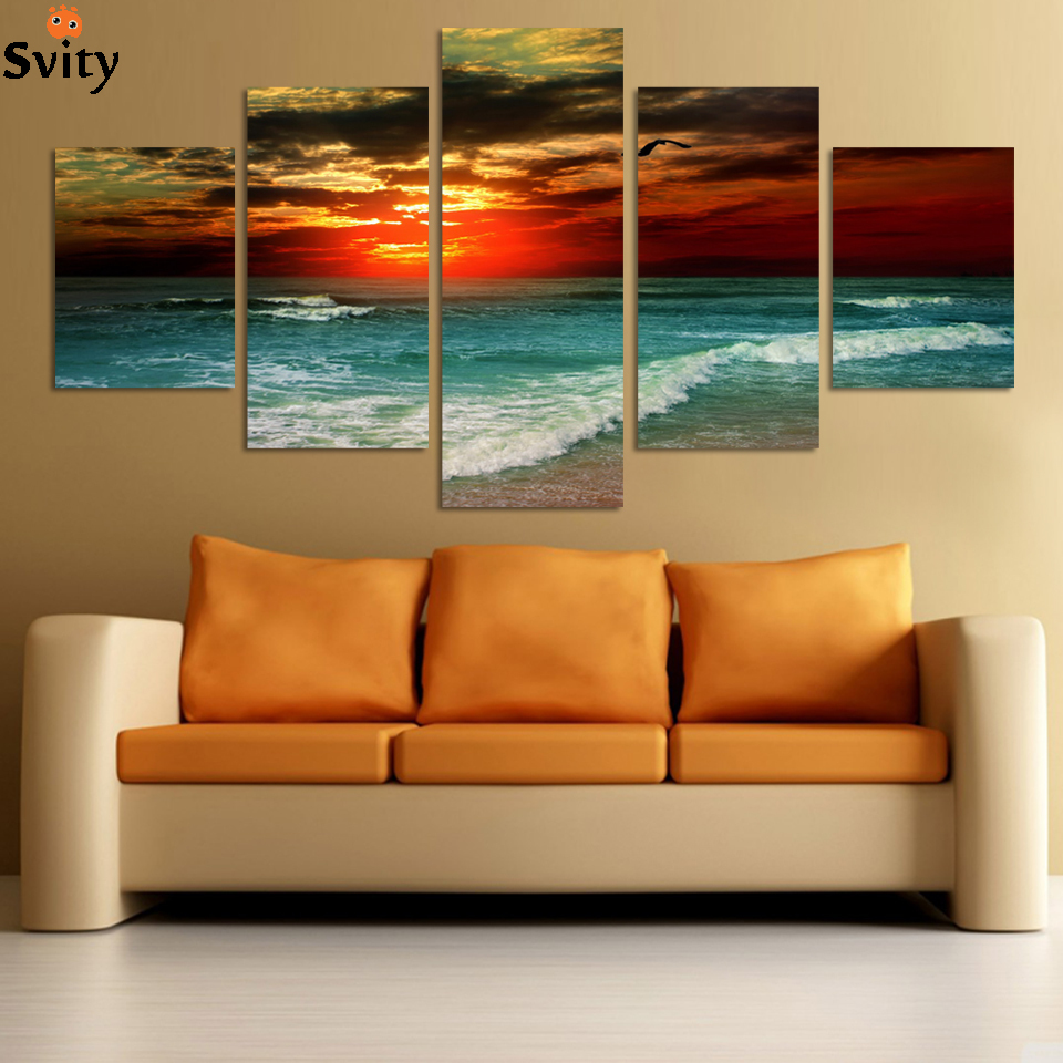 2016 new hot 5 piece beach sunset painting modern abstract for Toile abstraite