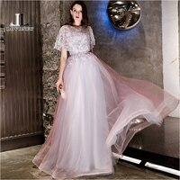 LOVONEY Elegant A Line Tulle Long Evening Dress with Detachable Shawl Robe De Soiree Formal Dress Occasion Party Dresses YS444 Evening Dresses