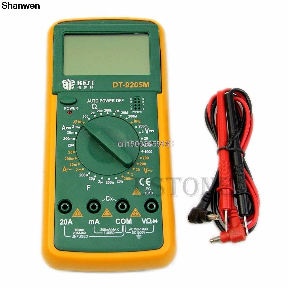 Neueste DT9205M Digital-Multimeter Voltmeter Amperemeter Ohmmeter Kapazität Tester