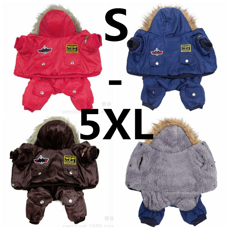 Hot Winter Warm Thick For Large Small Dog Pet Clothes Padded Hoodie Jumpsuit Pants Apparel XS-5XL Hot New Arrival  Free Shipping