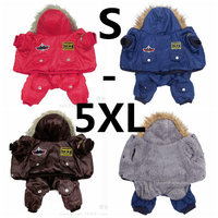 Hot Winter Warm Thick For Large Small Dog Pet Clothes Padded Hoodie Jumpsuit Pants Apparel XS
