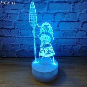 Image 5 - Cartoon Moana Prinzessin 3D Lampe Schlafzimmer Tisch Lampen Nacht Licht Maui 7 Farben Ändern Touch Lampe Abbildung Decor Spielzeug Kinder geschenk