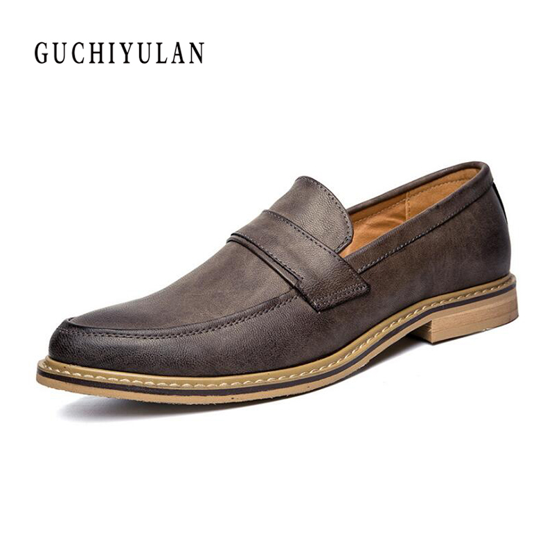 Derby male genuine leather hasp pointed toe business shoes fashion Vintage Men slip-on shoes High quality chaussure mariage homm