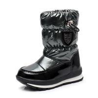 Winter Girls Boots Kids Rubber Anti slip Cotton Snow Boots Shoes For Boys Big Children Pu Leather Waterproof Warm Sequin Shoes