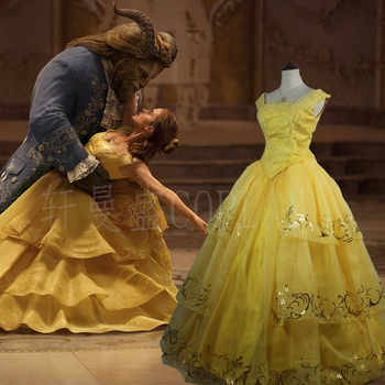 Classic love  Moive Beauty And The Beast Princess Belle High Quality Customised Yellow Cosplay Costume Dress New Arrival