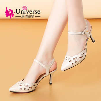 Universe Elegant Woman Summer Sandals Genuine Leather High Thin Heel Pointed Toe Hollow Out Style Women Shoes Sandals 2019 G170 - DISCOUNT ITEM  51% OFF All Category