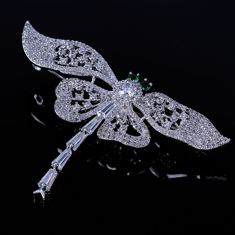 Nature Vintage Opens Green Eyes Flying Dragonfly Brooches Full Pave & - Fashion Jewelry - Photo 3