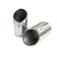 2PCS Stainless Steel Exhaust Tail Pipes Muffler Tailpipe Tips For Audi Q7 3 0 TDI TFSI