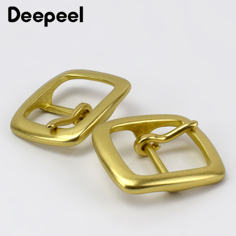 Deepeel 1pc 35mm Pure Copper Brass Pin Buckle Belt Head For 33-34mm Waistband DIY LeatherCrafts Jeans Hardware Decor Buckles