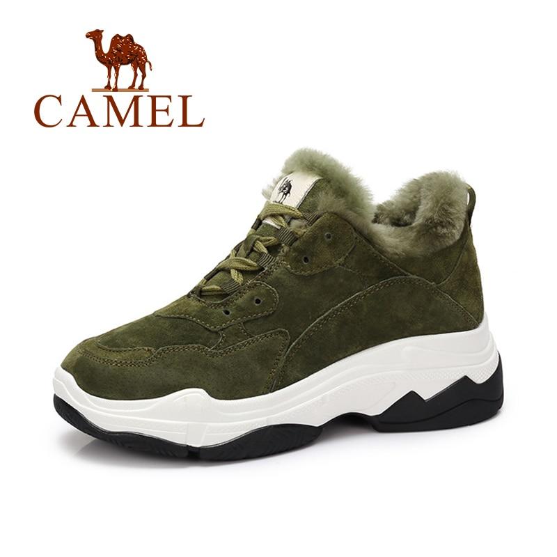 CAMEL Winter Women Shoes Thicken Warm High Platform Sneakers Women Casual Fashion Suede Fur Shot Plush