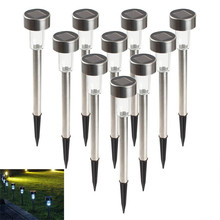 Hot 10 pcs/lot Stainless Steel LED Solar lamp Outdoor solar  powered spotlight Solar Garden lamp lantern YD141