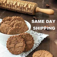Christmas Embossing Rolling Pin Baking Cookies Noodle Biscuit Fondant Cake Dough Engraved Roller Reindeer Snowflake