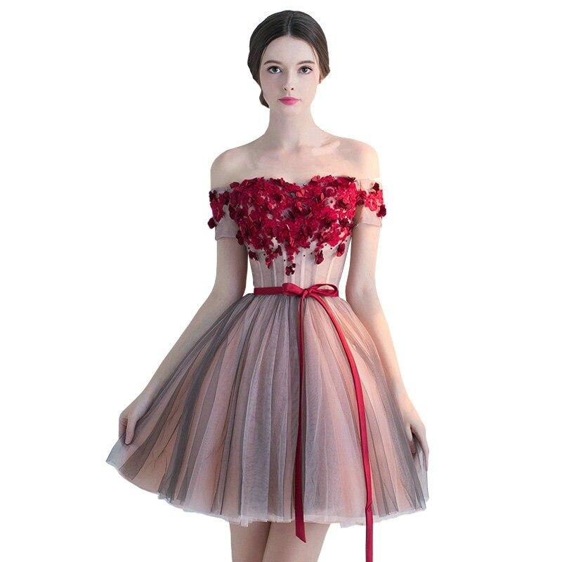 2650cc451c235 Hot Sale] 2019 New arrival elegant women short prom dress black lace ...