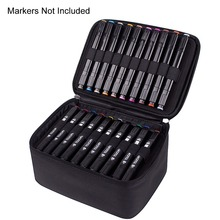 60 Slot Carrying Marker Case Houder Canvas Ritssluiting Markers Organizer Voor Art Marker Pen, twin Tip Permanents Markers Case