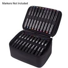 60 Slot Carrying Marker estuche protector lona rotuladores con cremallera organizador para rotulador de arte, Twin Tip Permanents Markers Case