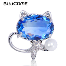 Blucome Exquisite Animal Cat Brooches Purple Zircon Brooch Pin Copper Jewelry Women Girl C