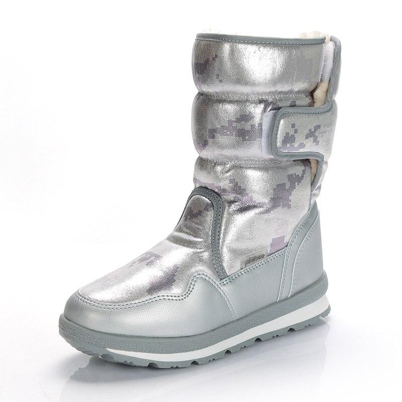 Ветрозащитные водонепроницаемые зимние ботинки для мальчиков и девочек; уличные теплые ботинки для охоты; Теплая обувь на меху; зимние ботинки «милитари» - Цвет: SILVER