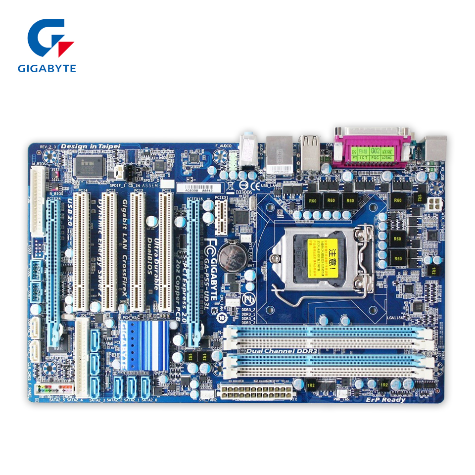 Gigabyte GA-P55-UD3L Original Used Desktop Motherboard P55-UD3L H55 LGA 1156 i5 i7 DDR3 16G ATX