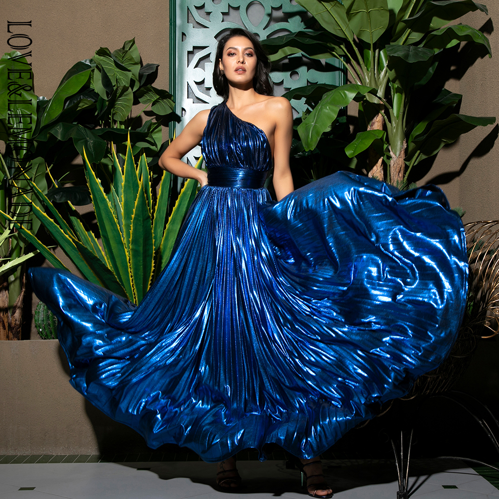 LOVE LEMONADE Sexy One Shoulder Pleated A line Party Maxi Dress LM81723 BLUE