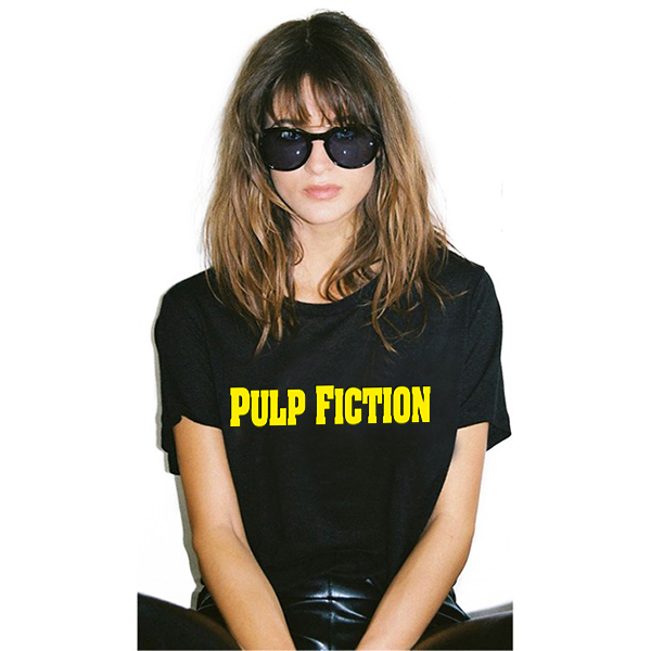 2018 Summer Style Pulp quentin tarantino Fiction t shirt RIP Hannah Montana Print Black Women T-shirt Swag tshirt Cool Tee