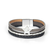 ORNAPEADIA New Jewelry High Quality Bohemia lovely Star Bangles Europe Popular Three layers Weave Leather Bracelet For Girl