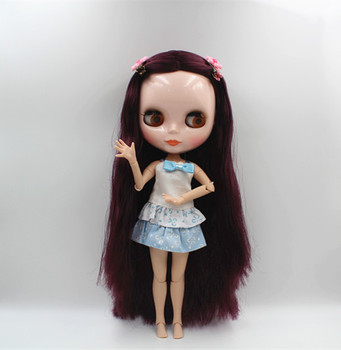 Blygirl Blyth doll Grape purple straight hair nude doll 30cm joint body multi-joint body 19 joint DIY doll can change makeup