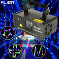 ALIEN Remote 3D RGB 400mW DMX 512 Laser Scanner Projector Stage Lighting Effect Party Xmas DJ Disco Show Lights Full Color Light