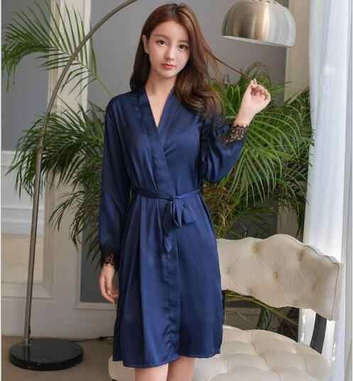 35d232853f ... Fdfklak Women Robe Set Long Sleeve Two Pieces Robes Sets Silk Satin Women s  Sleepwear Bathrobes Female