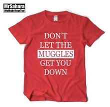 Harry potter muggle With short sleeves Pure cotton Round collar T-shirt Men and women couples(China (Mainland))