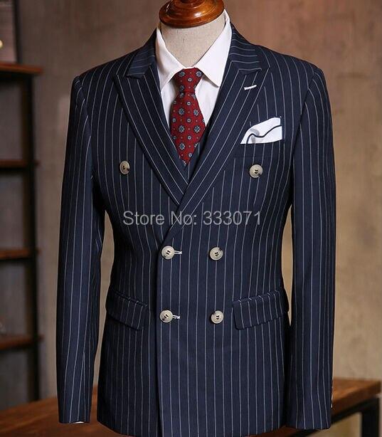 Aliexpress.com : Buy Custom Made Chalk Stripe Men Suits Bespoke ...