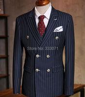 Custom Made To Measure Chalk Stripe Men Suits Bespoke Grey Black Dark Navy Blue Groom Tuxedos