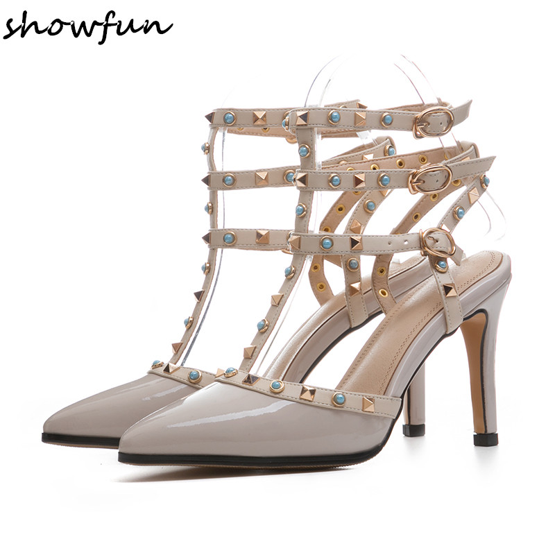 Women's patent leather rivet t-strap pointed toe pumps brand designer slingback elegant ladies summer high heeled evening shoes new 2017 spring summer women shoes pointed toe high quality brand fashion womens flats ladies plus size 41 sweet flock t179