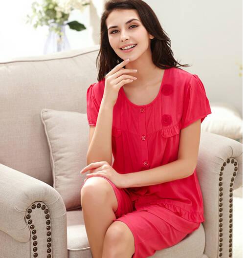 7bd0278374 Spring Summer pyjamas women cotton shorts pajamas set soft sleep wear plus  size pijamas mujer knee