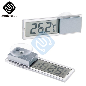 Mini LCD Digital Display Auto Car Thermometer With Suction Cup AG10 Button Cell Battery Temperature Measuring Range -20 -110 image