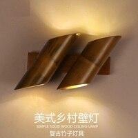 Лофт Стиль Bamboo Винтаж Настенные светильники под старину промышленного ветер светодиодные настенные бра лестницы прикроватные бра Освещен