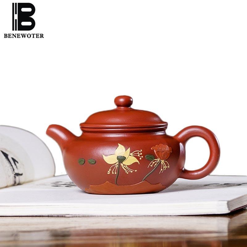 220cc authentique Yixing violet argile théière pour la maison Drinkware minerai brut Dahongpao boue chinois Kung Fu thé ensemble thé noir bouilloire cadeau